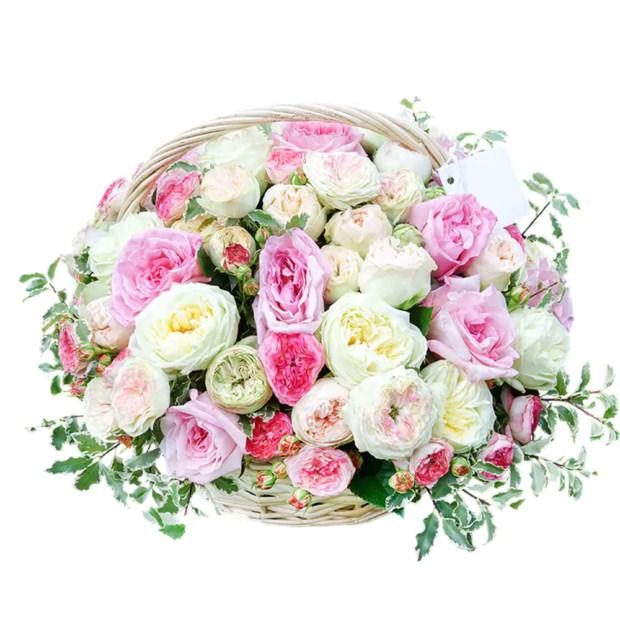 """Цветы в корзинке """"Пионовидные розы"""""""